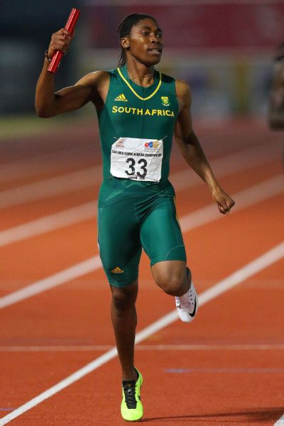 Caster Semenya as she wins the 4x400m finals in the Confederation of African Athletics Championships in June, 2016.