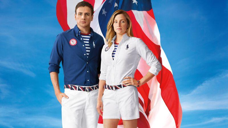 U.S. swim team members Haley Anderson and Ryan Lochte model the Polo Ralph Lauren closing ceremony uniforms (photo taken pre-Games).