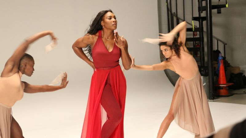 Serena Williams in mid-motion at her Delta Open music video shoot.
