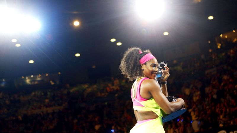 Serena Williams after winning the 2015 Australian Open.