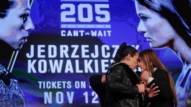 UFC strawweight champion Joanna Jedrzejczyk, left, faces fellow Poland native Karolina Kowalkiewicz at UFC 205 in New York.