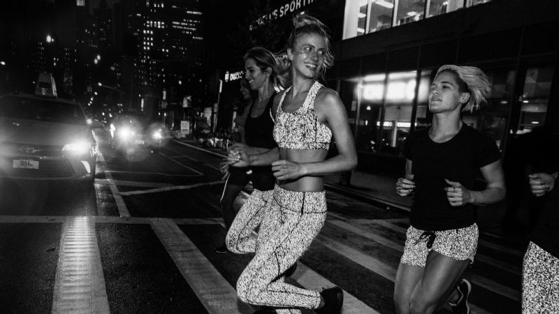 lululemon's reflective splatter collection creates '360 degrees of reflectivity without compromising mobility'.