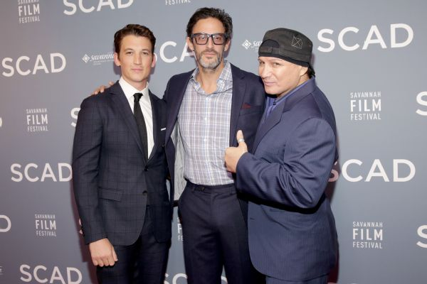 Actor Miles Teller, director Ben Younger and Vinny Paz during a premiere for the movie Bleed For This, the story of Paz.