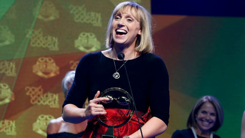 Katie Ledecky won Female Athlete of the Year for a record fourth consecutive year at Monday's Golden Goggles Awards in New York.