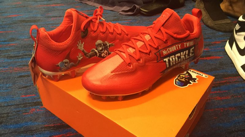 Titans cornerback Jason McCourty plans to wear these cleats on Sunday even if the NFL says he can only wear them during warm-ups.