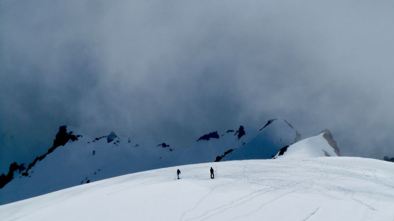 Steph Jagger and an acquaintance in Ruapehu, New Zealand.