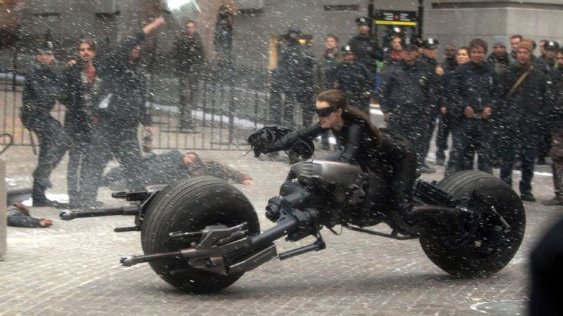 It was Van Vugt, not Anne Hathaway, atop the Batpod in 2012's The Dark Knight Rises.