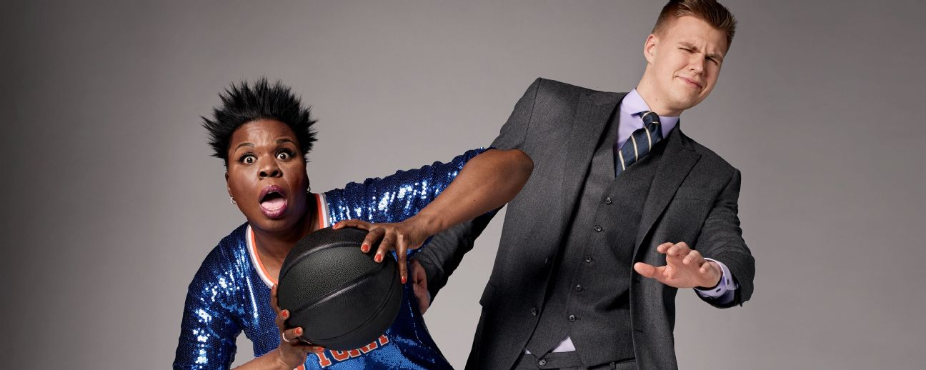 Leslie Jones shows Kristaps Porzingis how to get tougher on defense.