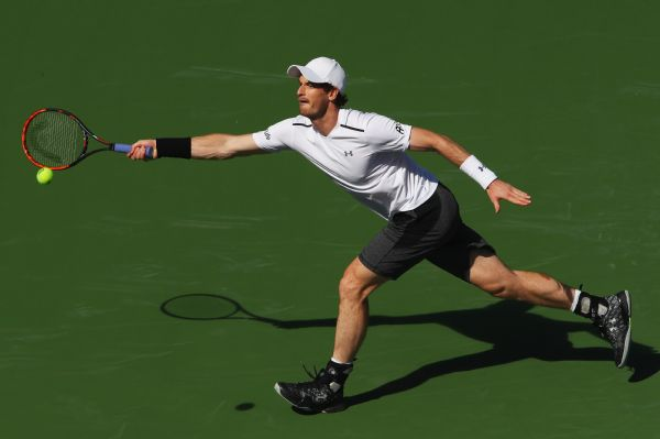 Andy Murray of Great Britain plays a forehand during a practice session on day two of the BNP Paribas Open