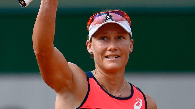 Australia's Samantha Stosur celebrates after winning her tennis match against Slovakia's Kristina Kucova.