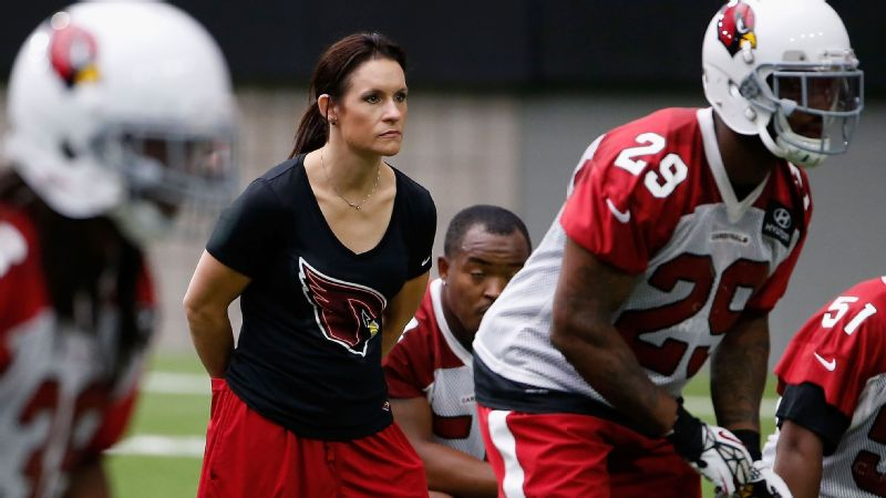 Jen Welter, who interned with the Arizona Cardinals, was the first female coach in the NFL.