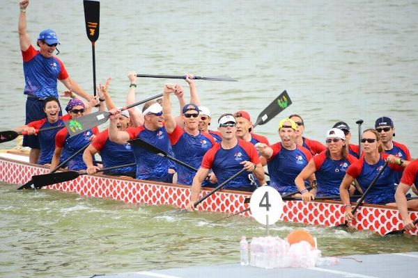 Hildren Francis, second from the left, at the moment she and her teammates learned they had won the 1K race at the 2015 International Dragon Boat Federation World Championships.
