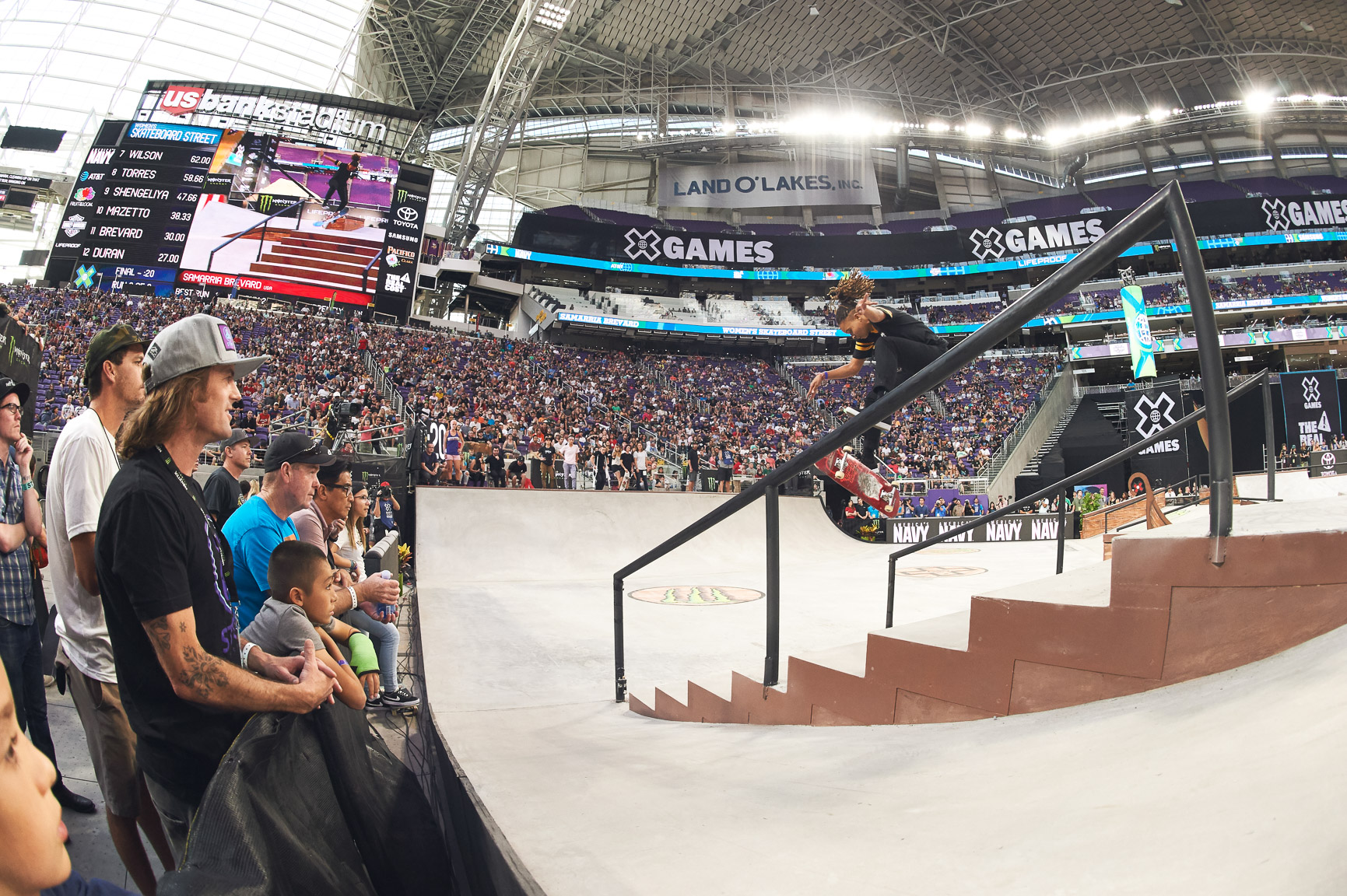 Samarria Brevard has been on fire this year. She tre flipped a 12-stair during the Ryan Sheckler Foundation event in May and was one of three girls on the 2017 King of the Road tour. In her four previous X Games appearances she finished just off the podium, but that changed on Friday at X Games Minneapolis 2017, when she put together a solid second run to come from behind and win the silver medal.