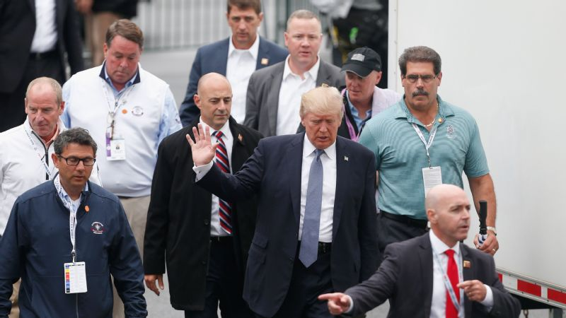 President Donald Trump arrived at Trump National Bedminster in a motorcade from Newark Liberty International Airport after a brief visit to France.