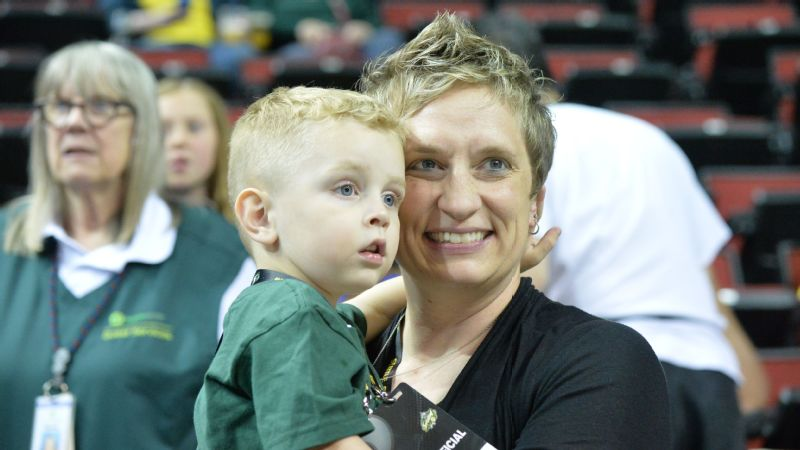 Because the Seattle Storm credential children of their employees, Shannon Burley's kids get special treatment at KeyArena.