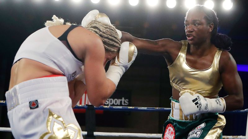 Already a super middleweight titlist, Claressa Shields, right, will be looking to add several middleweight belts to her résumé when she takes on Hanna Gabriels on June 22 in Motown.