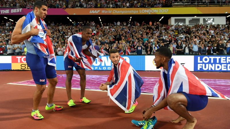 Left to right, Adam Gemili, Chijindu Ujah, Daniel Talbot and Nethaneel Mitchell-Blake celebrate their remarkable victory in the 4x100-meter relay, claiming Britain's second gold medal of its home World Championships.