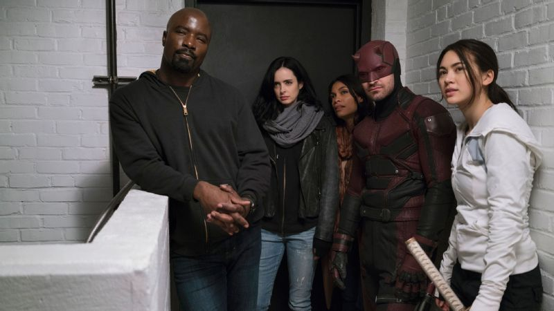 Krysten Ritter, center, returns as Jessica Jones alongside an ensemble cast for Marvel's The Defenders.
