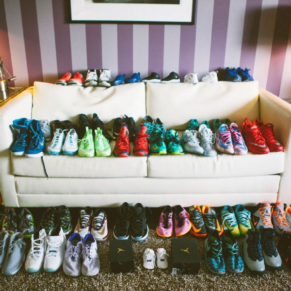 Hartley and her son Bryon's kick collection lines the entire living room.