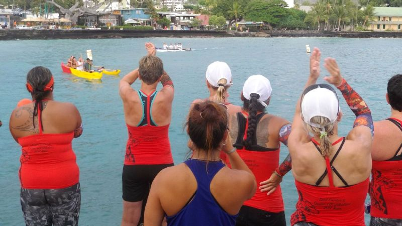 Participants cheer on fellow paddlers in Kailua Bay.
