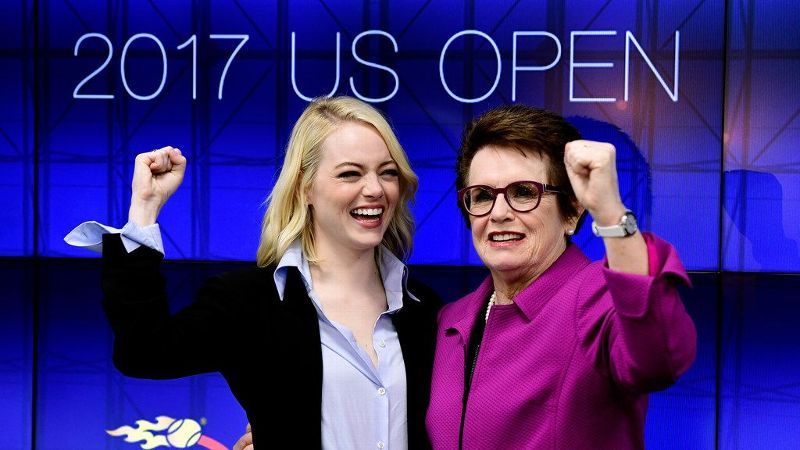 Emma Stone, left, and Billie Jean King at a Battle of the Sexes press conference during the US Open.