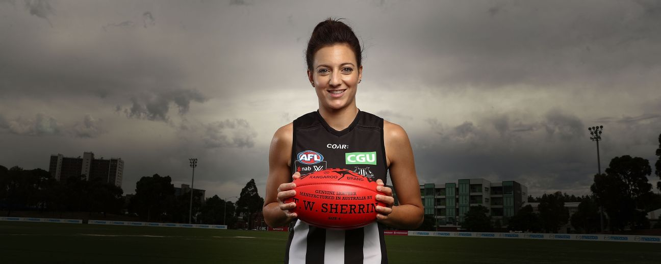 Steph Chiocci of the Magpies at the 2017 AFLW launch.
