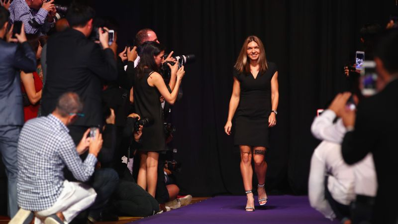 Simona Halep arrives at the official draw ceremony and gala ahead of the WTA Finals in Singapore this week, where she will be looking to consolidate her hard-earned place as world No. 1.