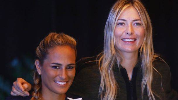 Maria Sharapova, right, joined WTA compatriot and Puerto Rican native Monica Puig in giving relief to the people who lost everything following Hurricane Maria.