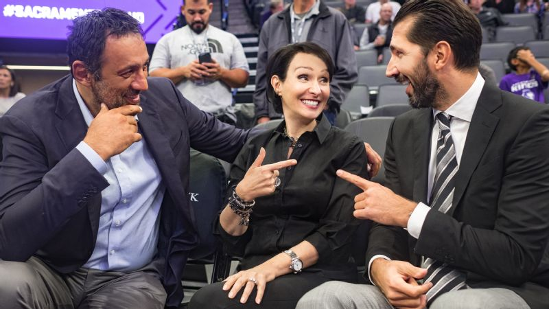 Sacramento Kings COO Matina Kolokotronis sits with GM Vlade Divac and VP of Basketball and Team Development Peja Stojakovic.