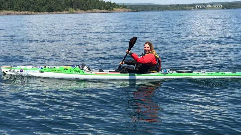 Traci Lynn Martin has already traveled more than 3,500 miles on her surfski around the Great Lakes -- more than the distance between San Francisco and New York City.