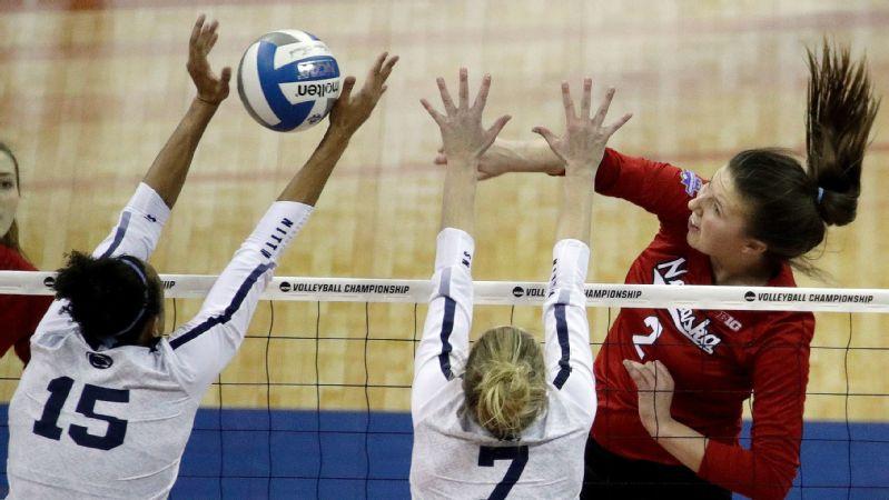 Nebraska rallies past top-seeded Penn State in NCAA volleyball semis