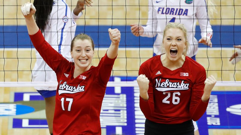 Annika Albrecht, left, had seven kills and 11 digs for Nebraska, and Lauren Stivrins, right, added nine kills and two digs.