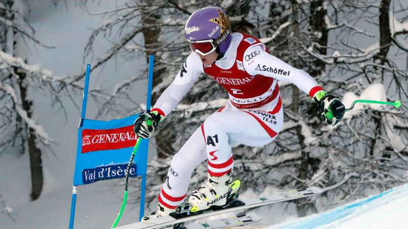 Anna Veith won her first super-G race since March 2015 as the defending Olympic champion prepares for the Pyeongchang Games.