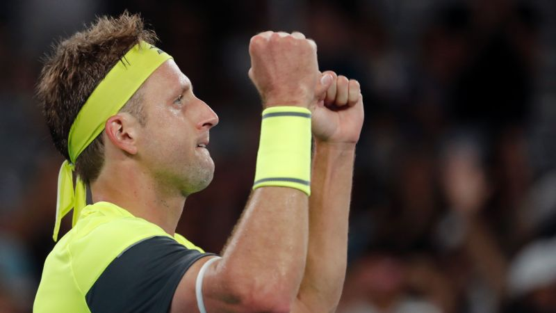 Tennys Sandgren played the first five-set match of his career Monday in Melbourne.