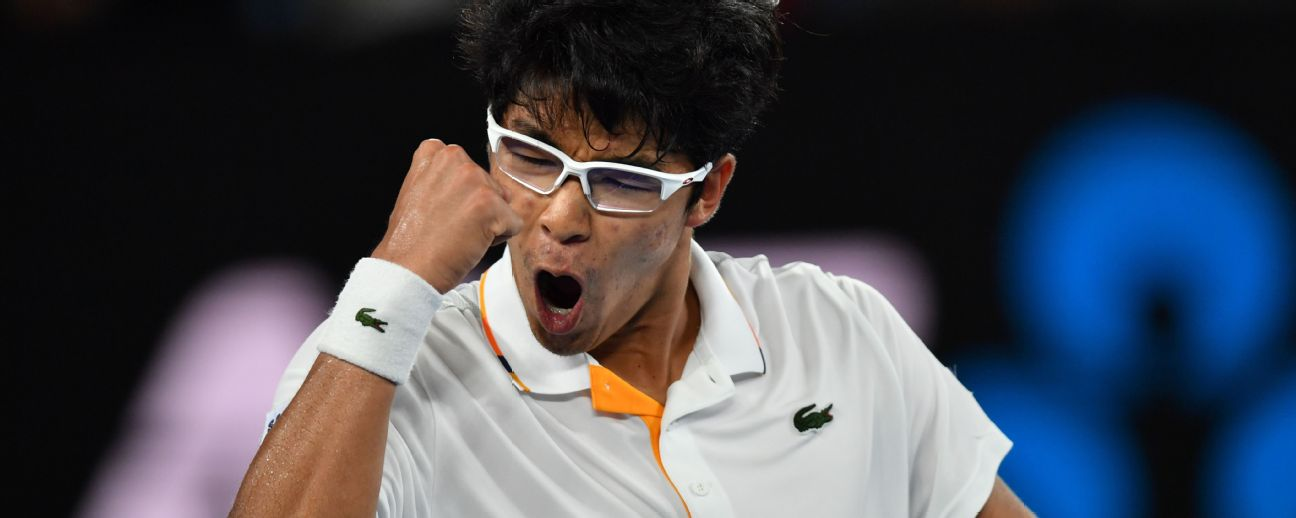 Hyeon Chung will play Tennys Sandgren in an Australian Open quarterfinal. Neither player has ever reached this stage at a major.