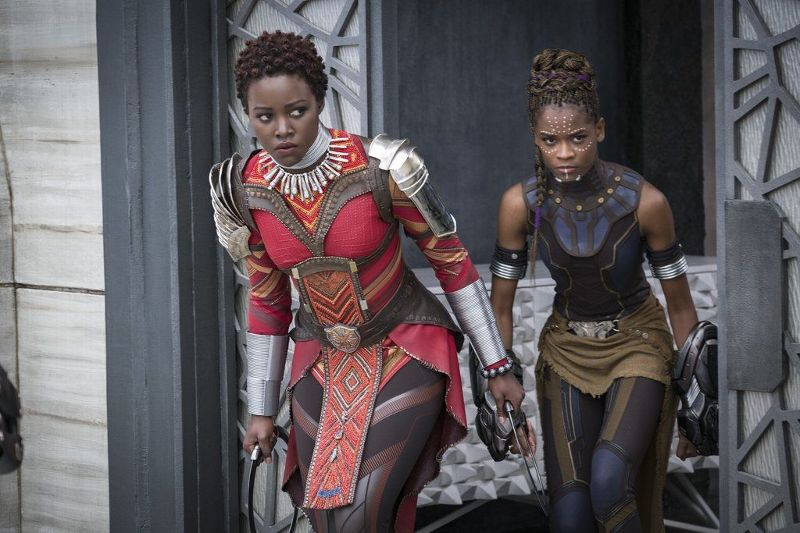 Nakia (Lupita Nyong'o), left, and Shuri (Letitia Wright) stand strong in Black Panther.