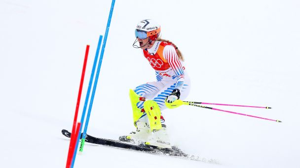 Lindsey Vonn cannot hide her frustration as she skis out of the slalom run of the Alpine combined -- she had led after the downhill run in what is widely expected to be her final Olympics.