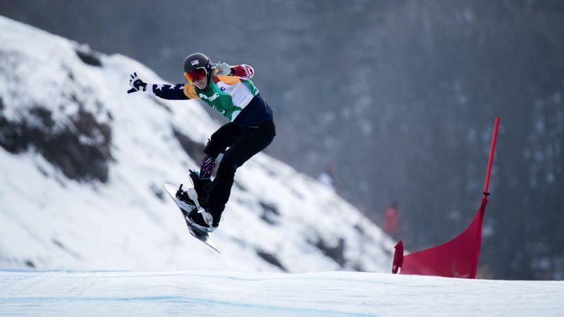 Brenna Huckaby won gold on Monday in snowboard cross.