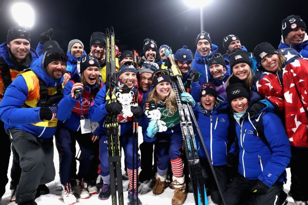Members of the U.S. ski team, from wax techs to coaches and team members, celebrated the victory in Pyeongchang.