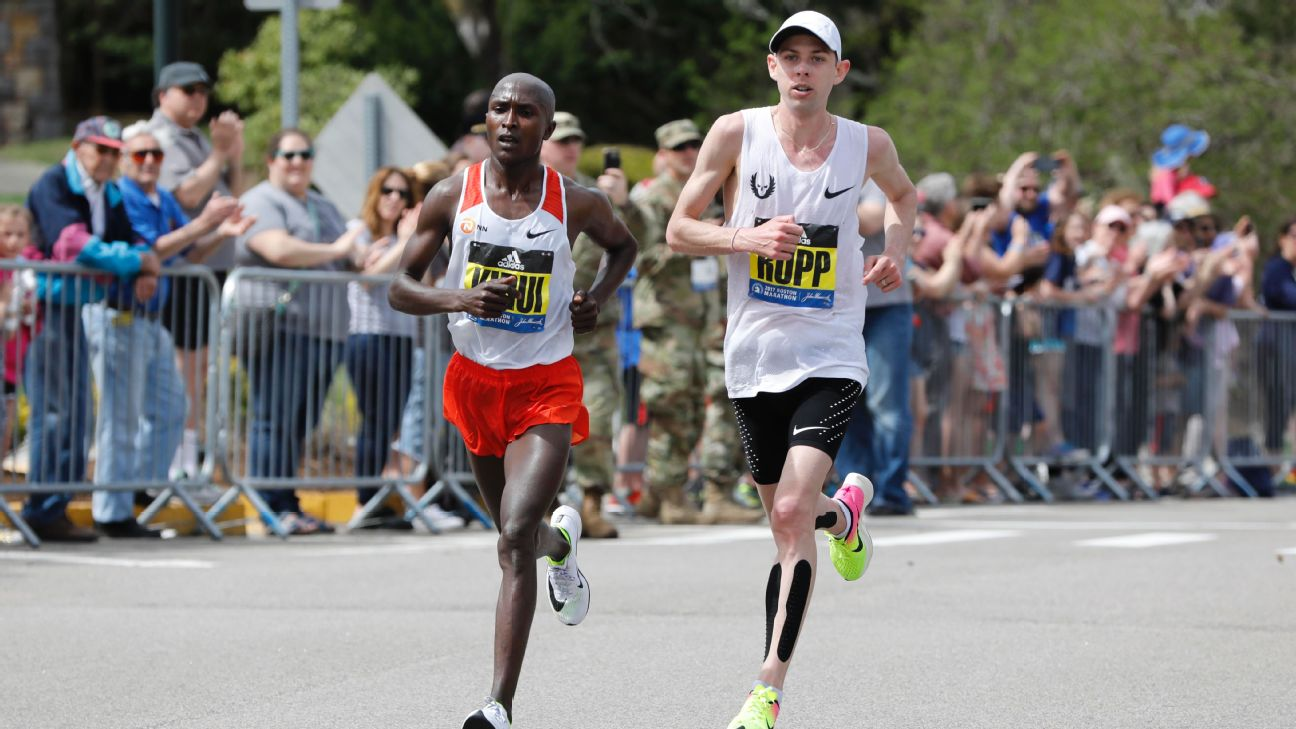 Kenya's Geoffrey Kirui beat American Galen Rupp by 21 seconds at the 2017 Boston Marathon. They'll both be back on the Boston starting line on April 16.