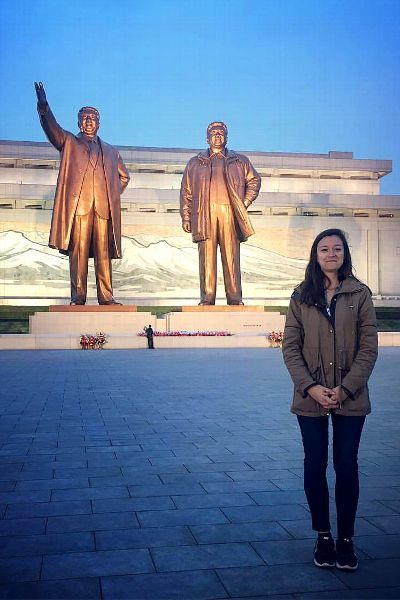 A brief stop at the Mansu Hill monument with bronze statues of Kim Il Sung and Kim Jong Il.