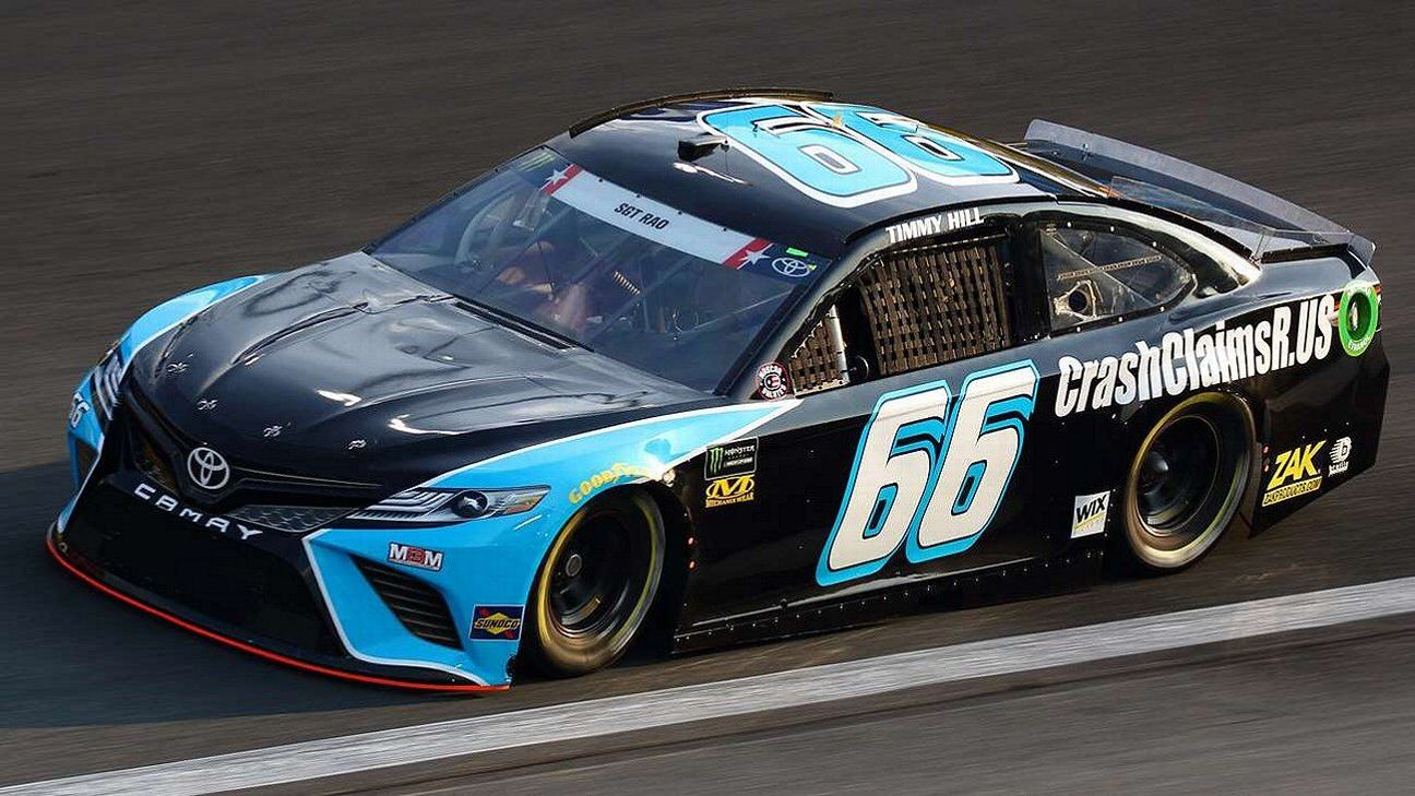 Timmy Hill at Charlotte in May in the #66 CrashclaimsR.us Toyota.  Army Sgt. Elijah Rao honored on the windshield.