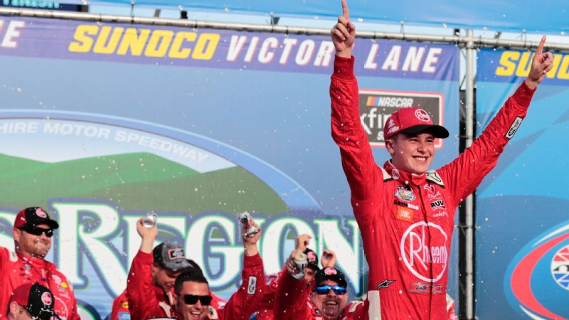 Christopher Bell celebrates winning the Xfinity Series Lakes Region 200 on July 21, 2018, at New Hampshire Motor Speedway.