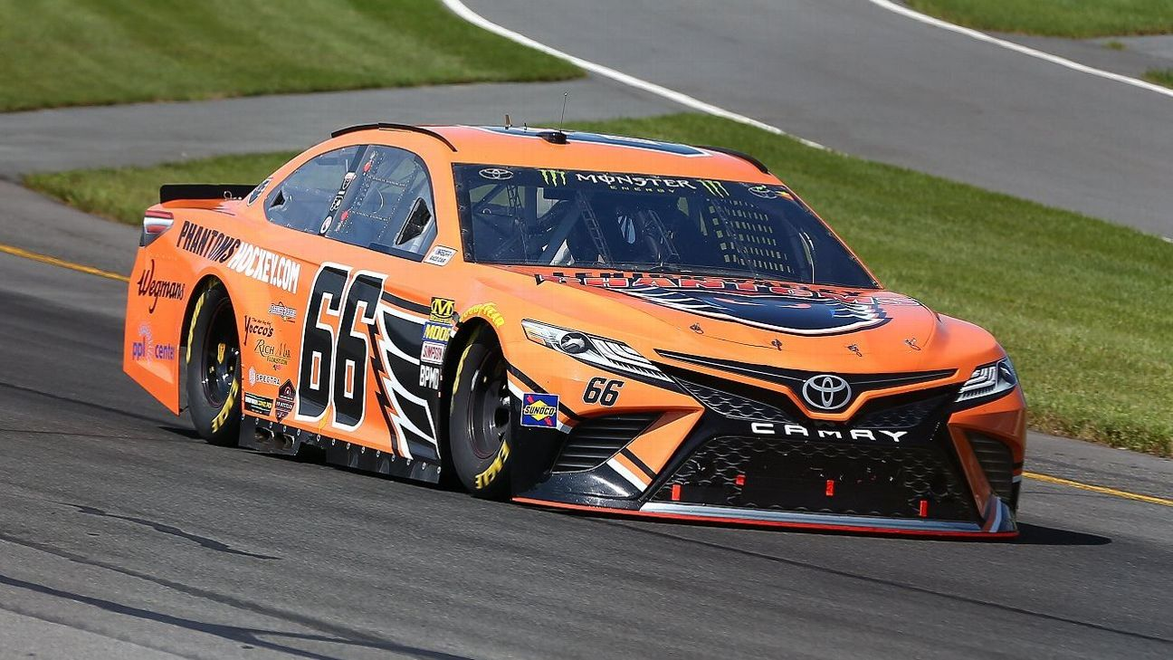 Timmy Hill in the #66 Lehigh Valley Phantoms Toyota during the Monster Energy NASCAR Cup Series - 45th Annual Gander Outdoors 400 on July 29, 2018 at Pocono Raceway.