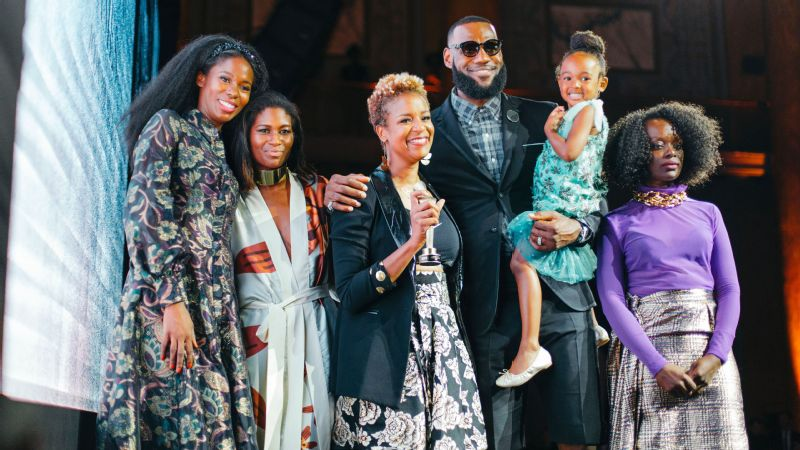 From left: Kimberly Goldson, Fe Noel, Brandice Daniel, LeBron James, LeBron's daughter Zhuri and Undra Duncan at the HFR Style Awards and Fashion Show in New York City.