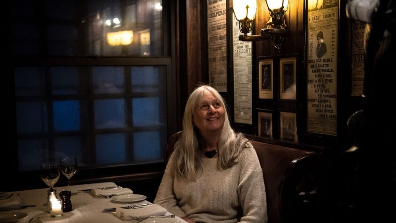 Former Sports Illustrated reporter Melissa Ludtke poses for a portrait at Keens Steakhouse after hosting a tour with New York Sports Tours on Monday. The event marked the 40th anniversary of the landmark Ludtke v. Kuhn equal rights case.