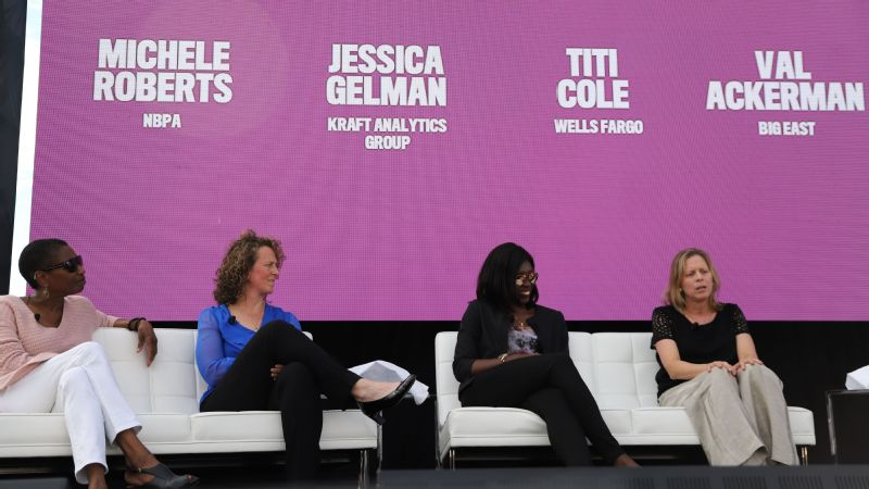 The Women in Leadership panel includes the NBPA executive director Michele Roberts, Kraft Analytics Group CEO Jessica Gelman, Wells Fargo EVP Titi Cole and Big East commissioner Val Ackerman during the 2018 espnW: Women  Sports Summit.