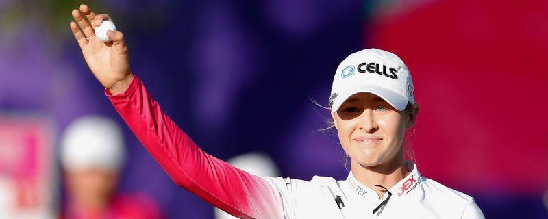 Nelly Korda celebrates winning the Swinging Skirts LPGA Taiwan Championships.