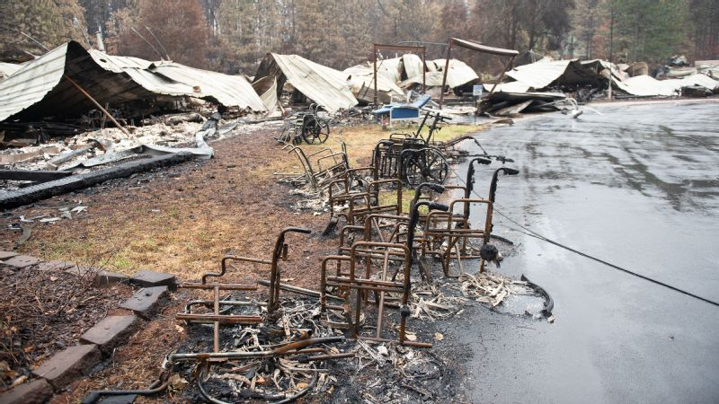 After the fire, dozens of burned wheelchairs lay scattered around the parking lot of what was the Cypress Meadows Post-Acute nursing home.