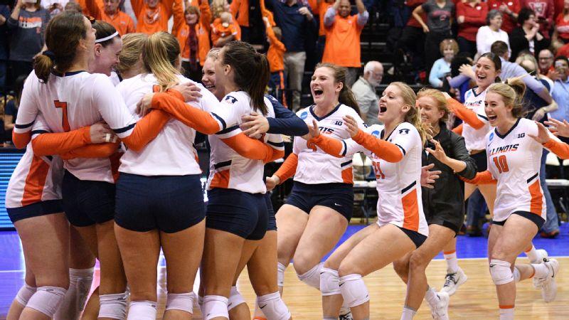 Illinois volleyball celebration
